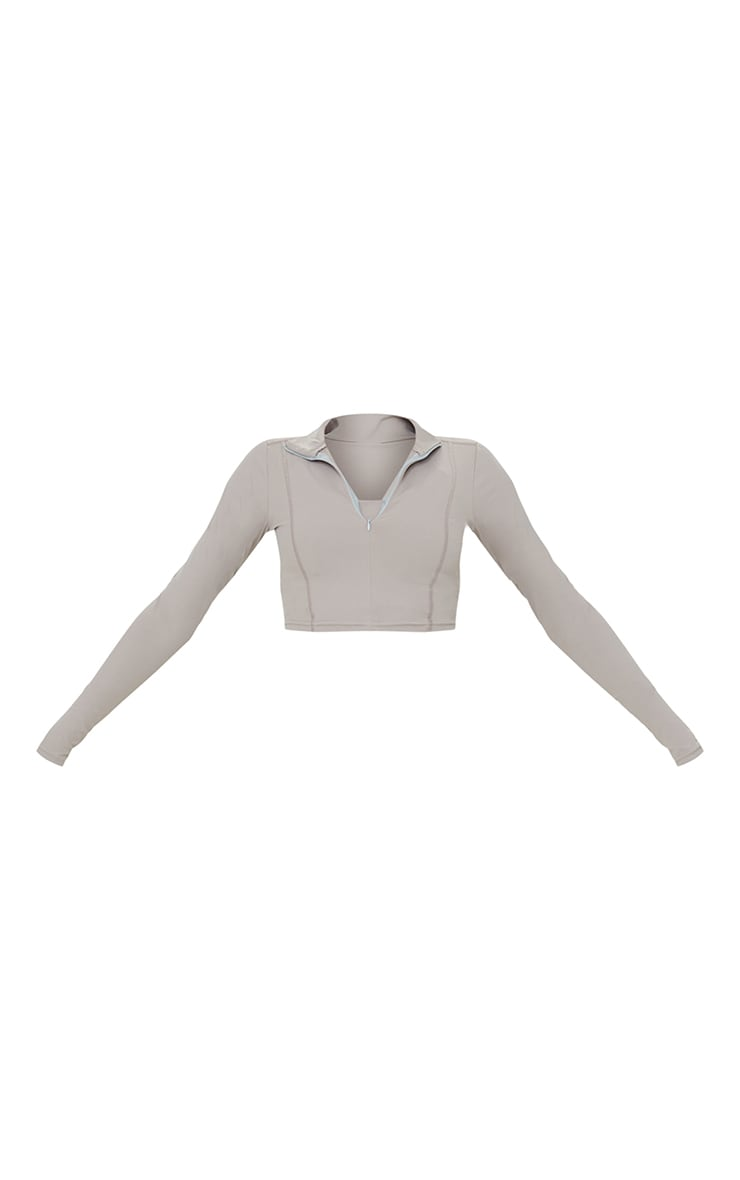 Taupe Zip Up Sculpt Luxe Jacket 5