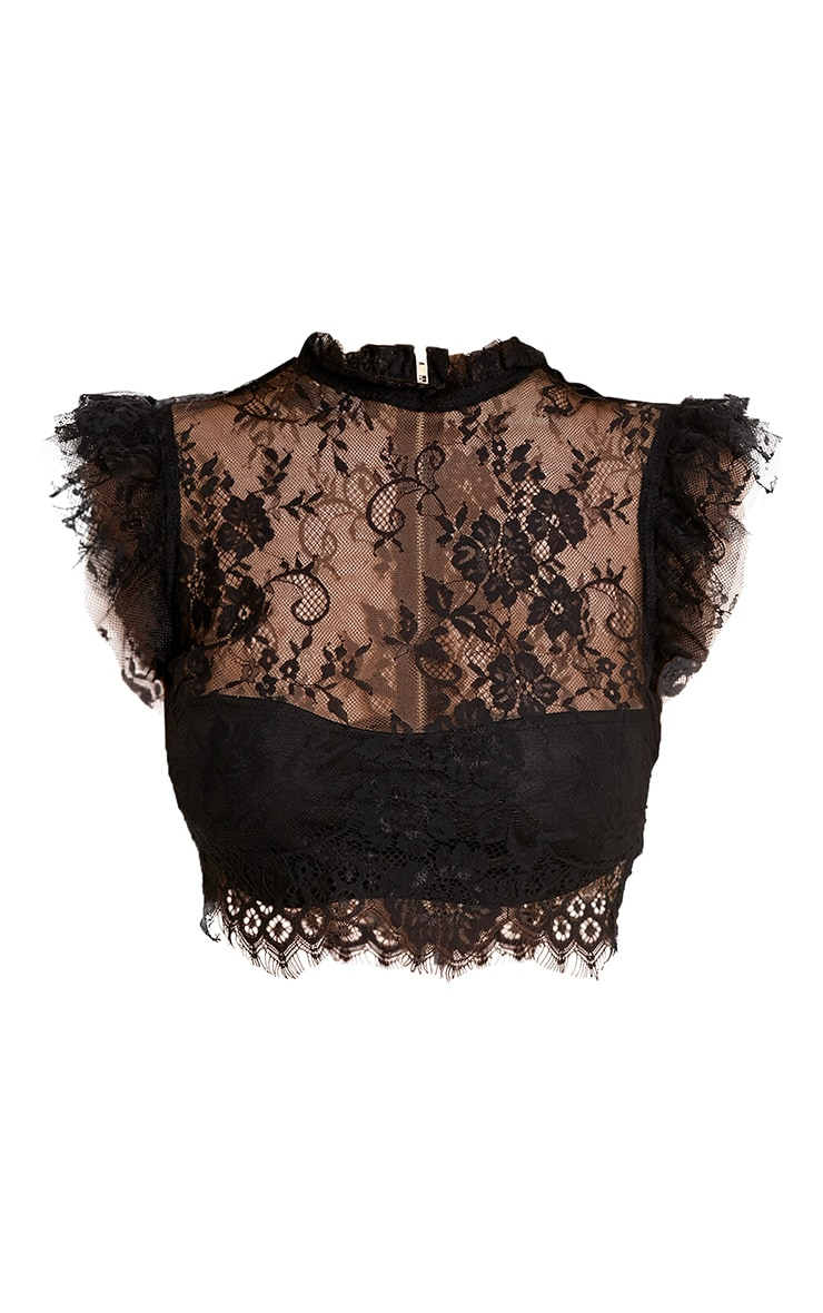 Marla Black Lace High Neck Frill Crop Top 3