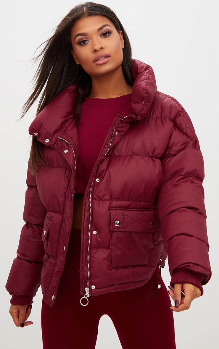 Burgundy Oversized Puffer Jacket with Button Pockets 1
