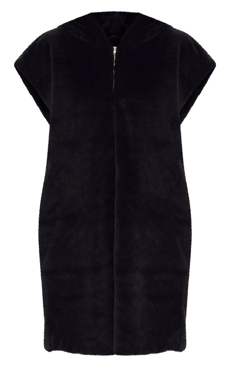 Black Oversized Zip Front Faux Fur Hoodie  3