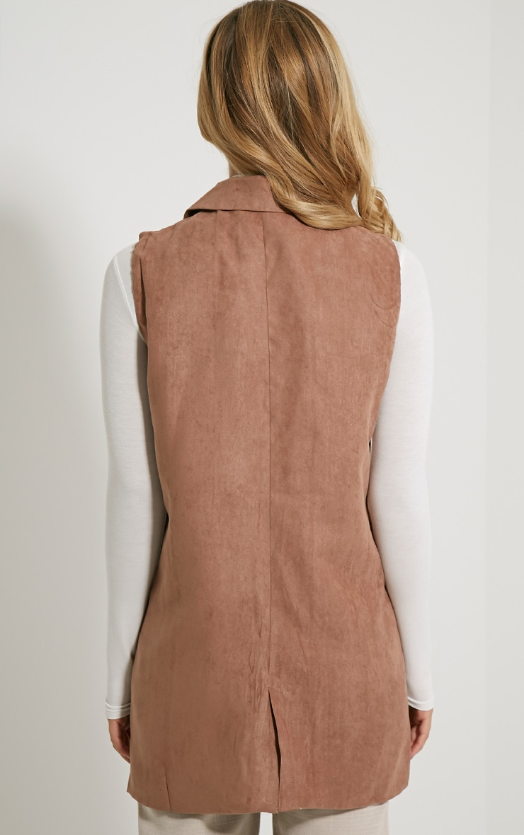Veera Tan Sleeveless Faux Suede Jacket 3