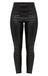 Black Faux Leather High Waisted Leggings 3