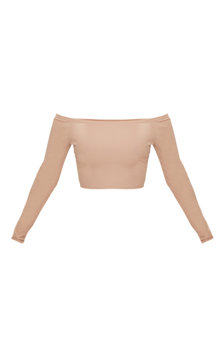 Shape Nude Ribbed Bardot Long Sleeve Crop Top 3