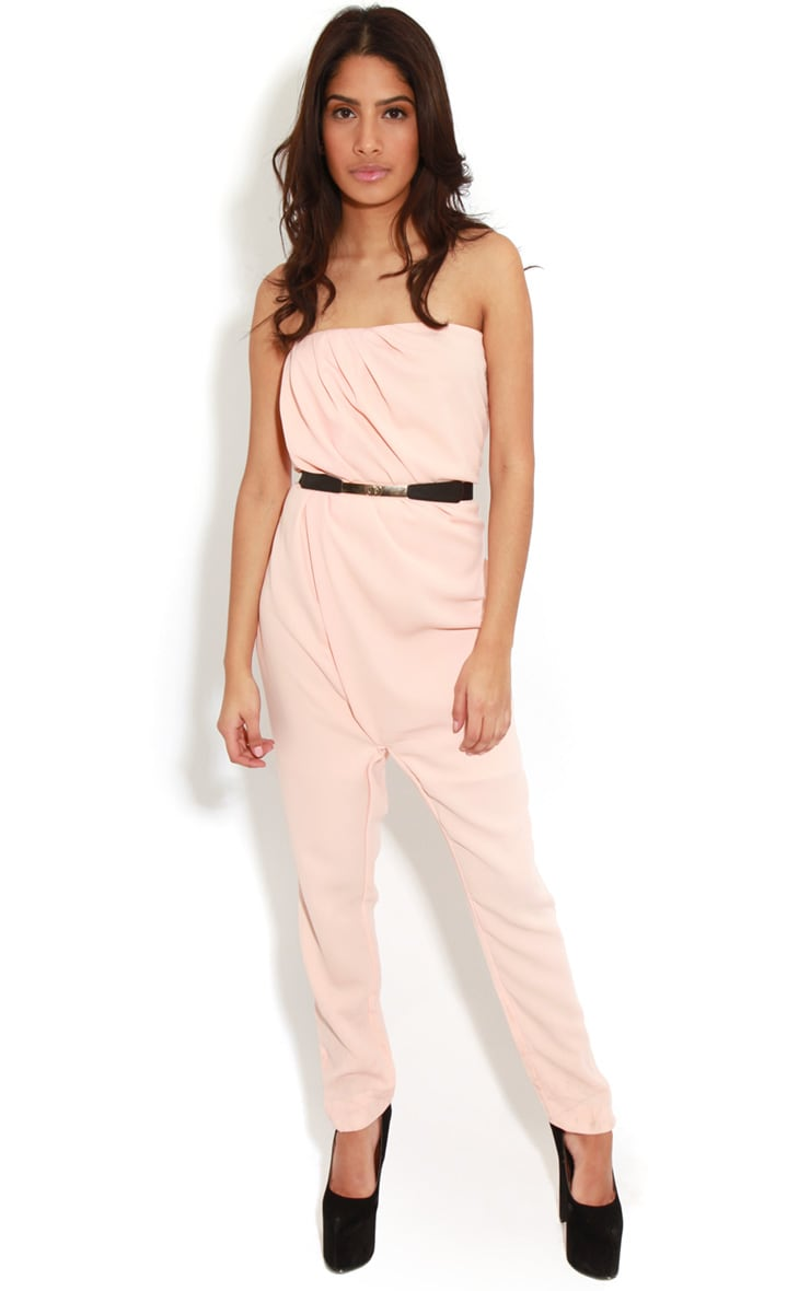 Ellie Peach Strapless Jumpsuit With Belt  3