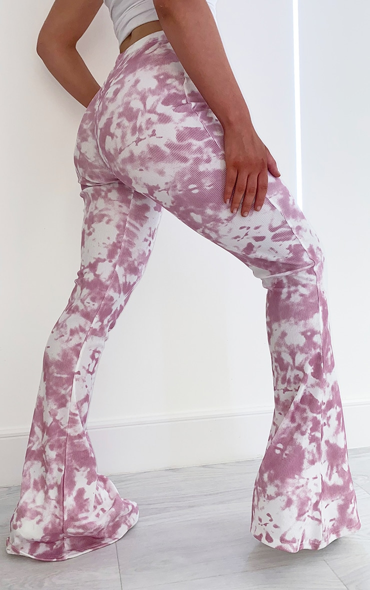Pink Flared Tie Dye Trousers 3