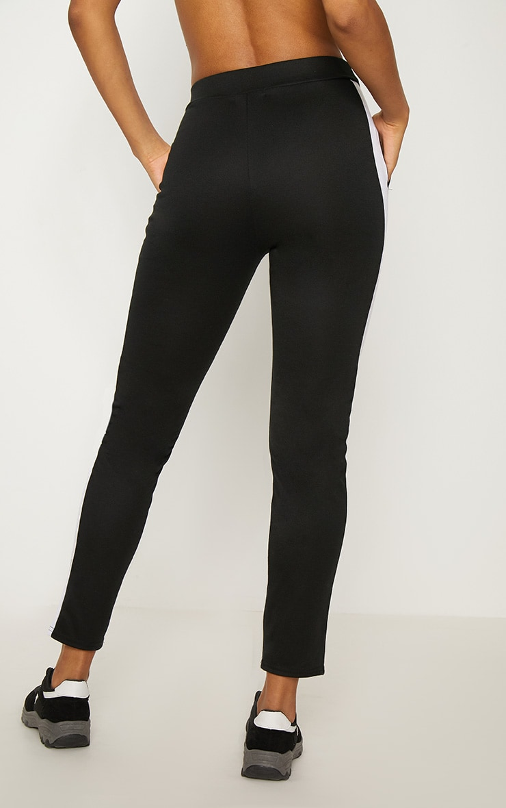 Black Ponte Contrast Side Stripe Trouser   4