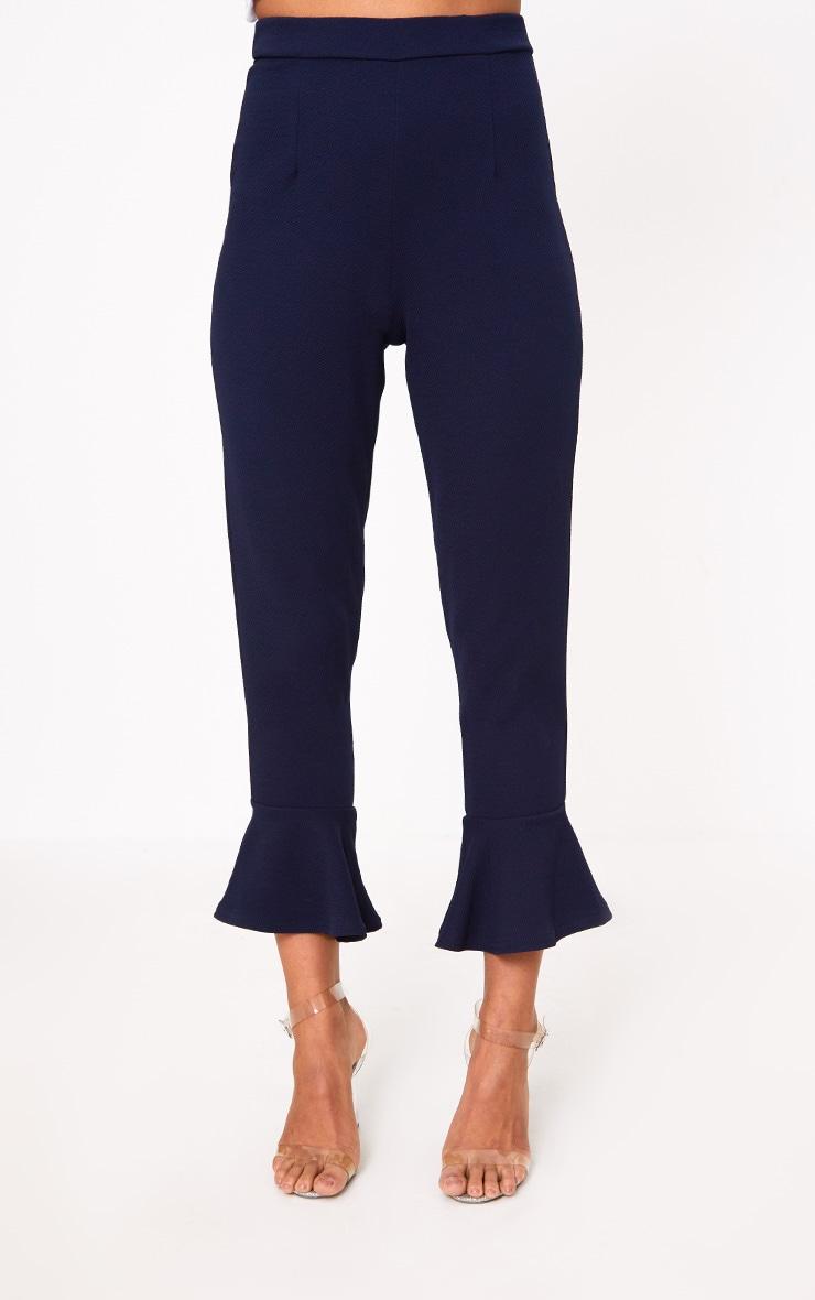 Navy Flare Hem Trouser 2