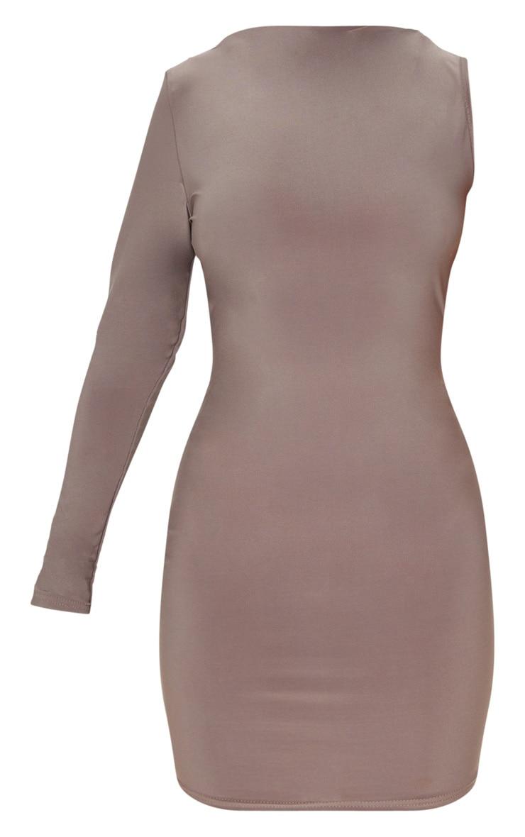 Petite Mocha One Shoulder Long Sleeve Bodycon Dress 3