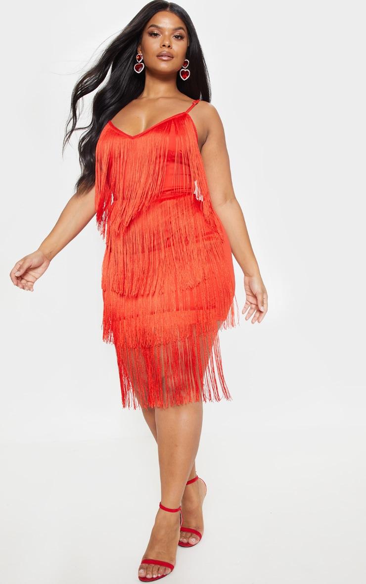 Plus Red Strappy Tassel Midi Dress  4