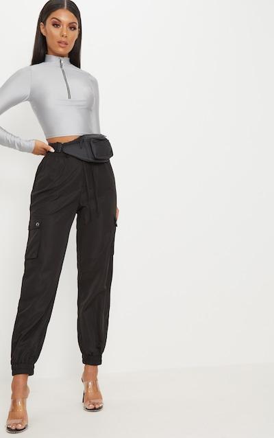 43f7914536b2b Black Shell Pocket Detail Cargo Trouser