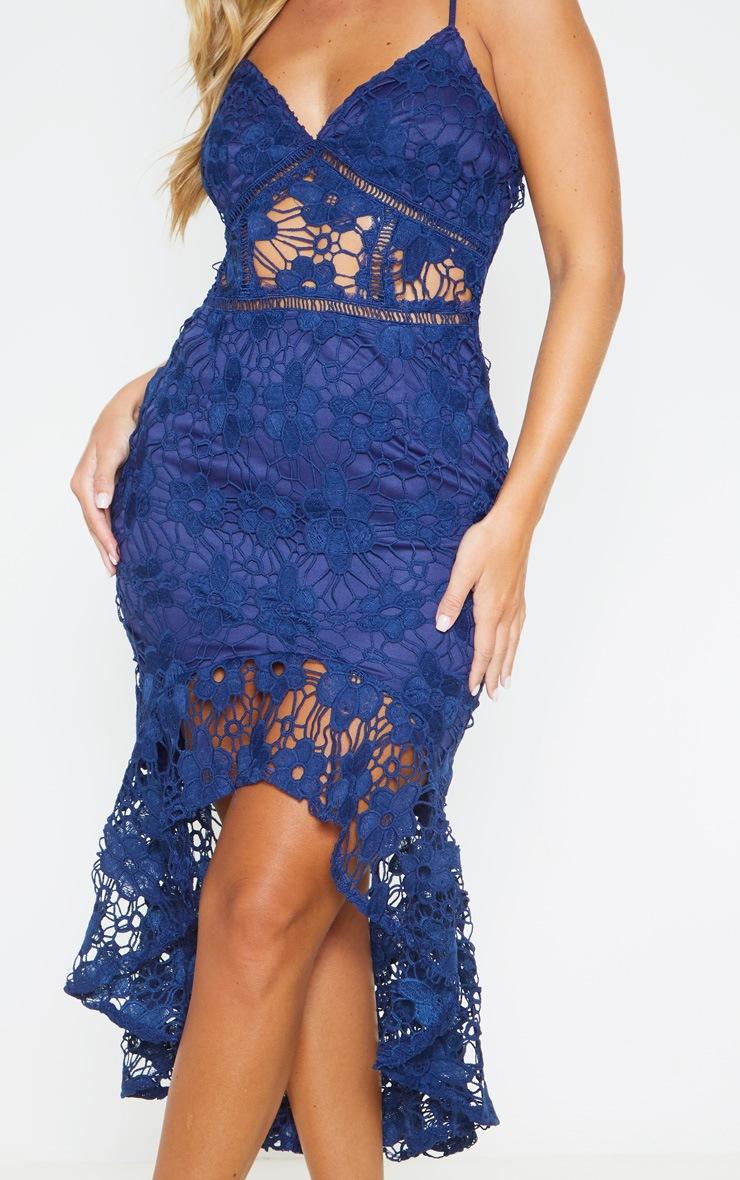 Midnight Blue Lace Strappy Frill Hem Midi Dress 5