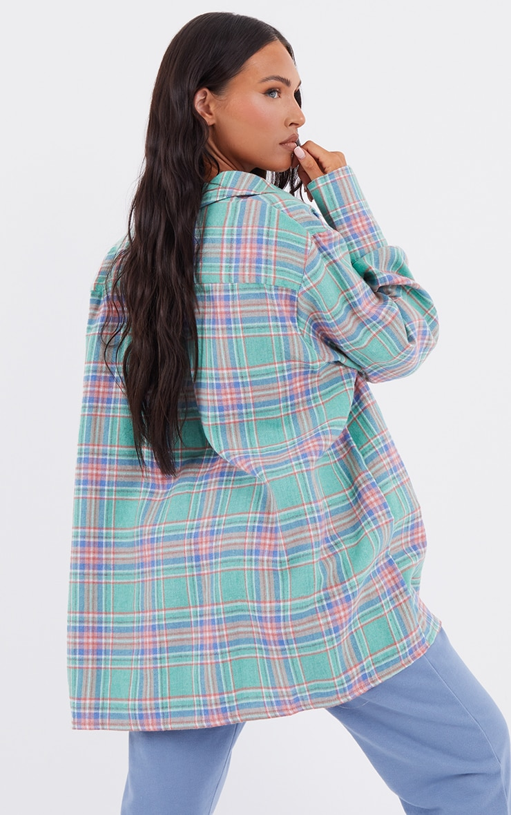 Mint Oversized Checked Shirt 2