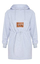 PRETTYLITTLETHING - Robe hoodie grise à cordons 5