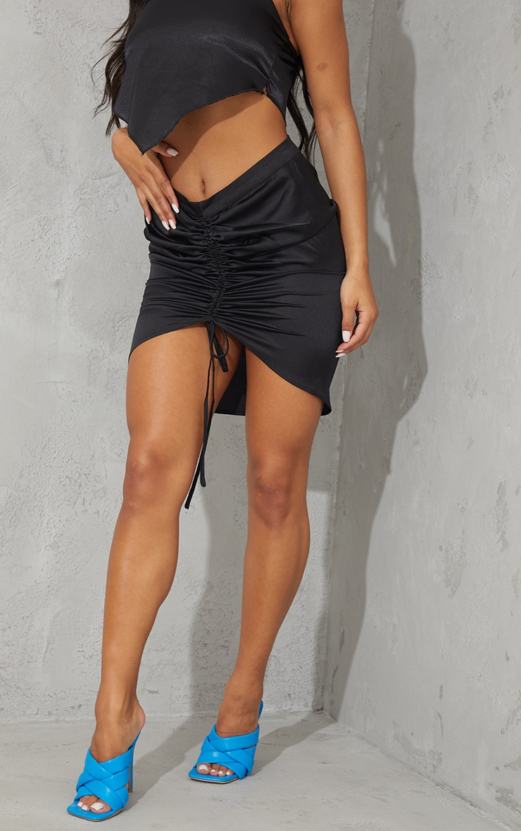 Black Front Ruched Mini Skirt 2