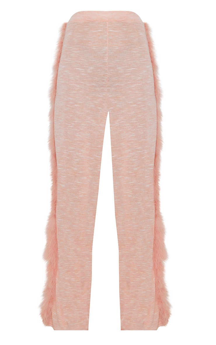 Pink Feather Trim Wide Leg Knitted Trousers 3