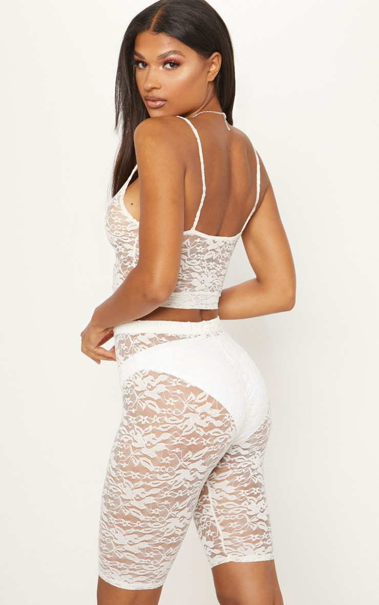 White Lace Scoop Neck Strappy Crop Top 2