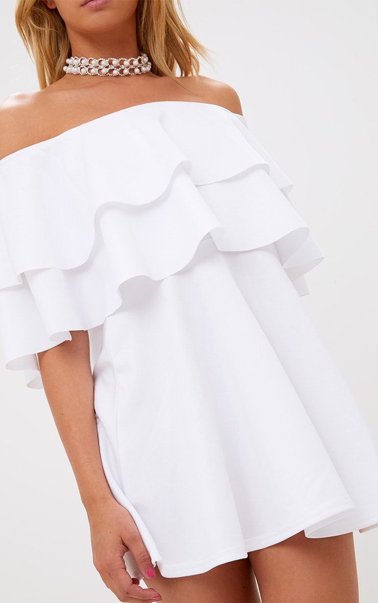 White Frill Bardot Skater Dress 5