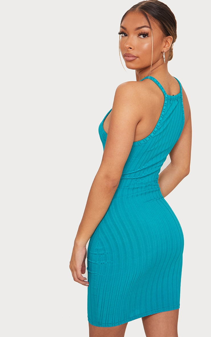 Teal Recycled Rib Racer Neck Bodycon Dress 2