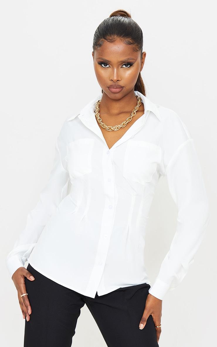 White Woven Corset Waist Shirt