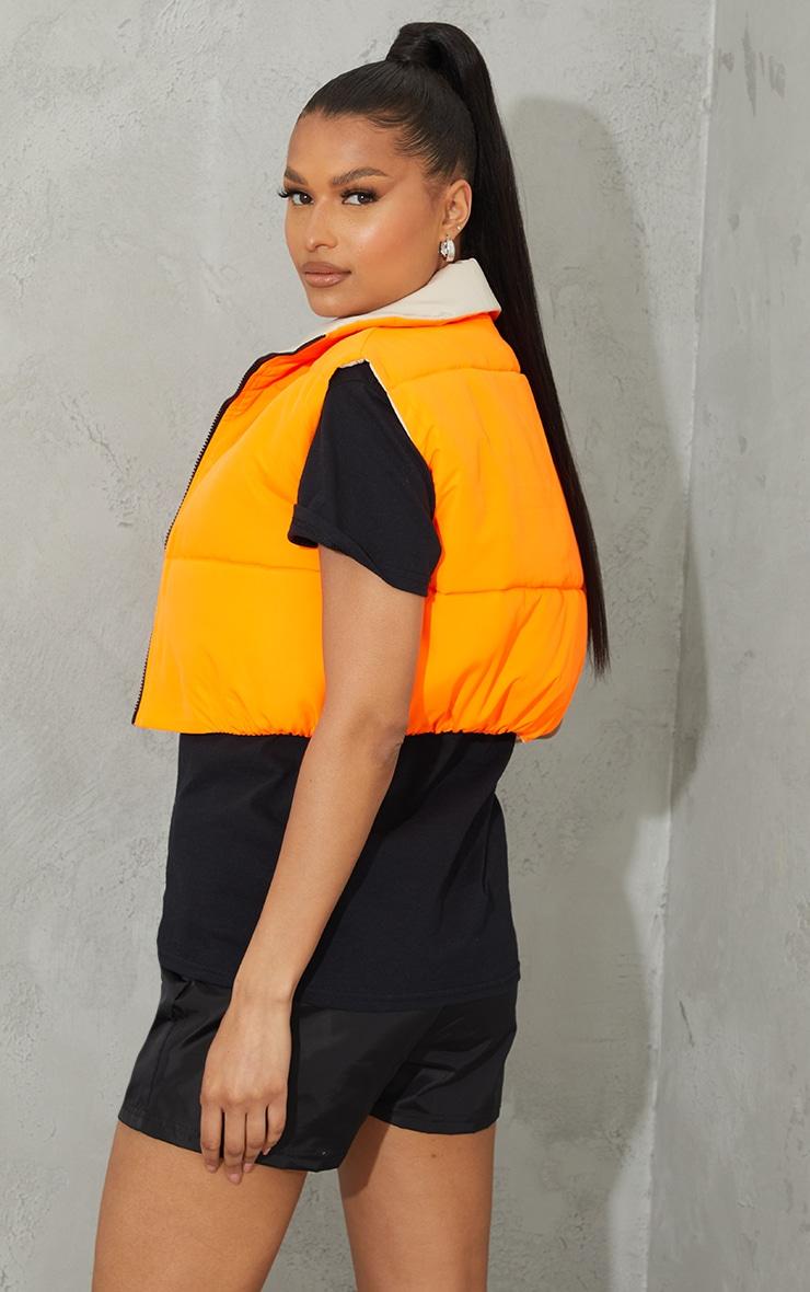 Orange Reversible Cropped Gilet 2