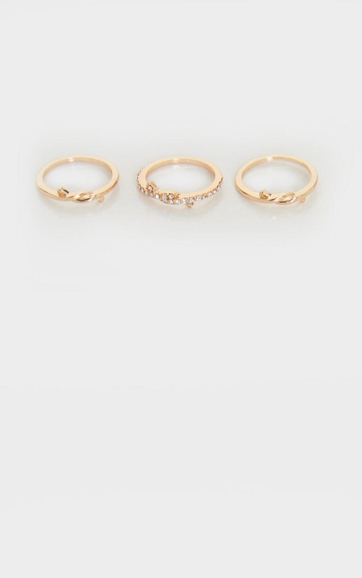 Gold Knot Detail Delicate Three Pack Stacking Rings 3