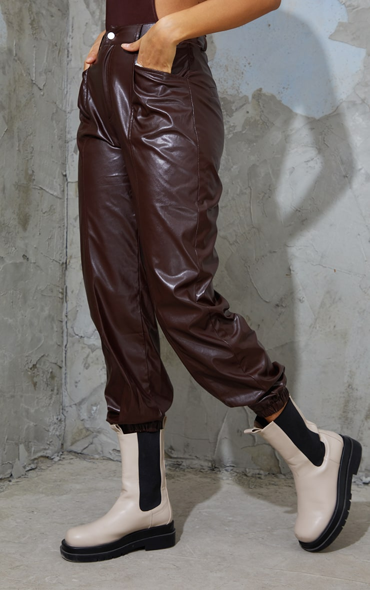 Chocolate Faux Leather Seam Detail Cuffed Pants 2