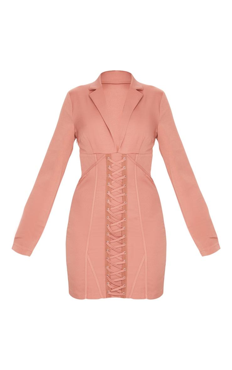 Deep Rose Long Sleeve Corset Lace Up Blazer Style Bodycon Dress 5