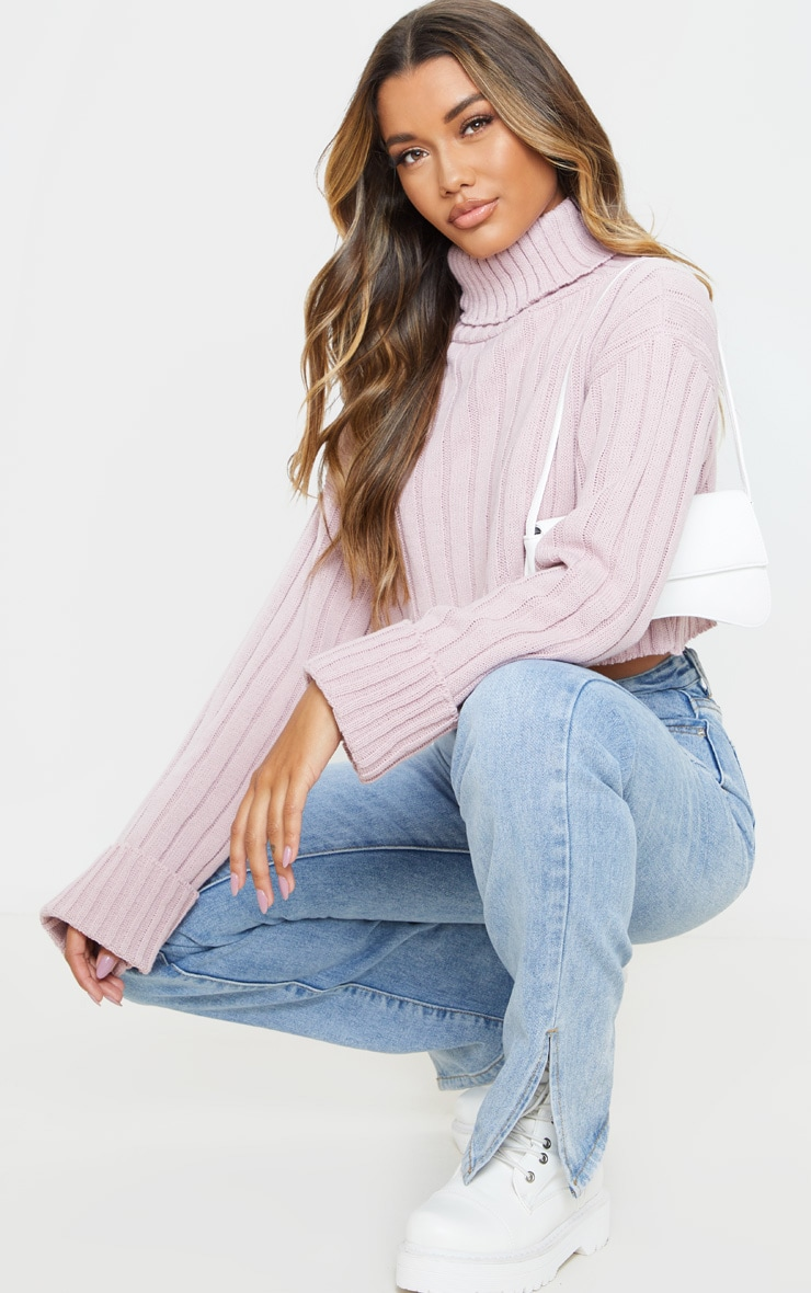 Rose Knitted Rib Cropped Sweater 4