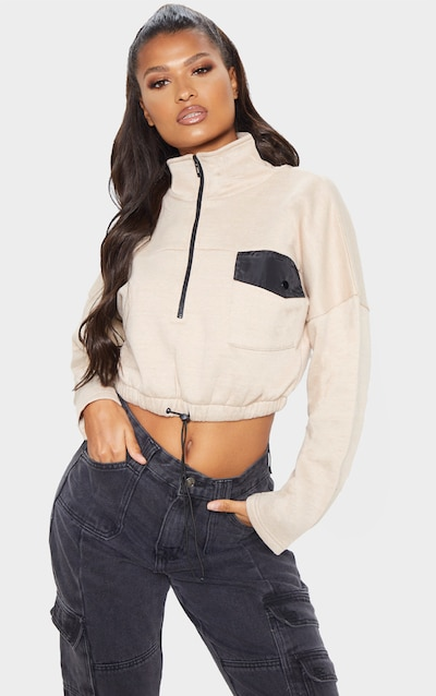 Sand Pocket Zip Front Crop Sweater