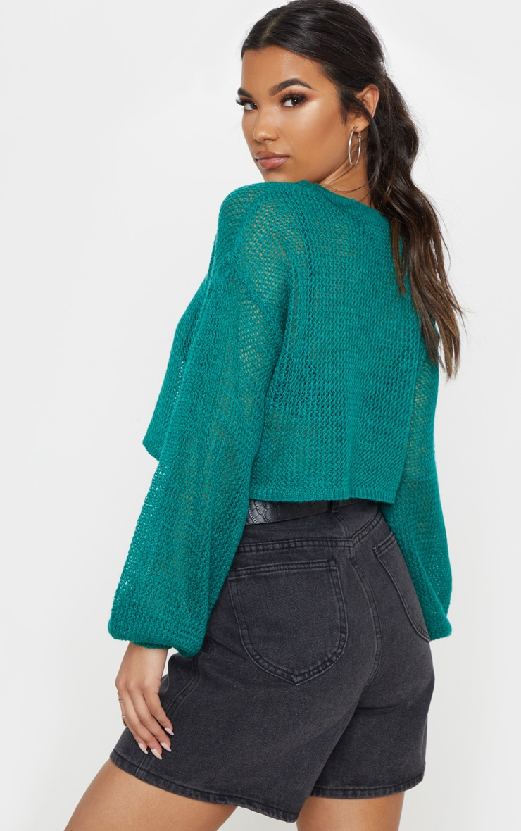 Teal Laguna Knitted Wide Sleeve Cropped Jumper 2