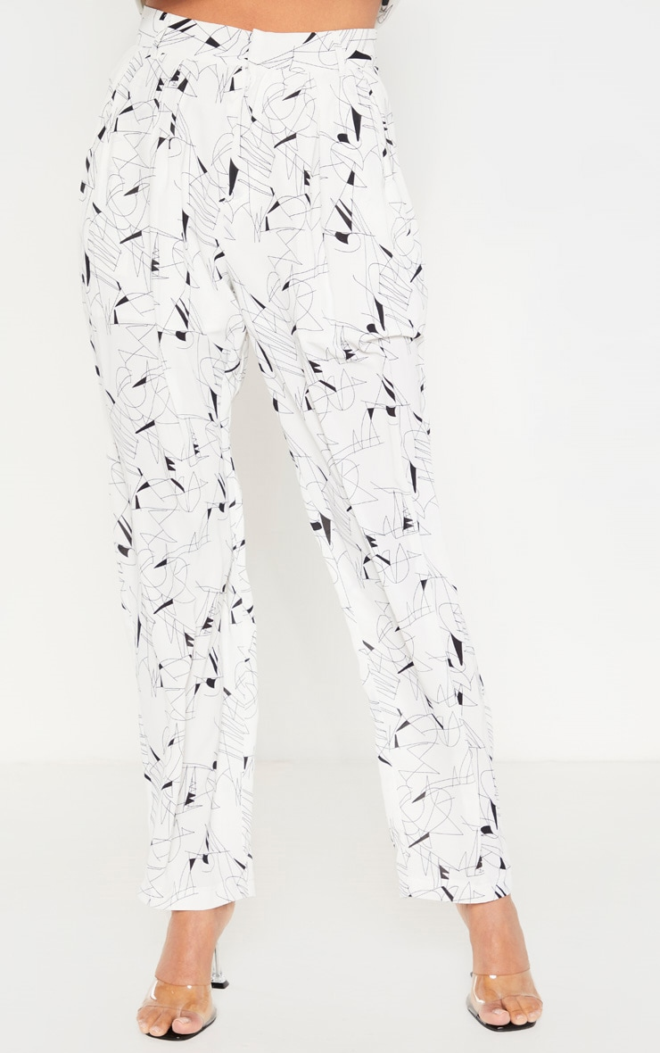 White Printed Woven High Waisted Cigarette Pants 2