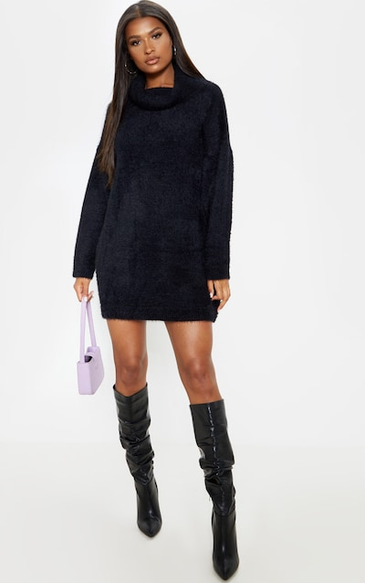 low priced unique design popular stores Black Knitted High Neck Sweater Dress
