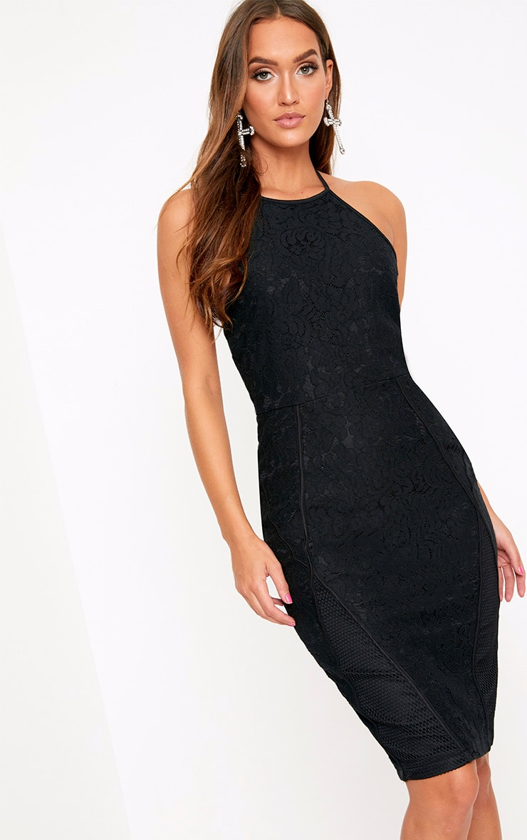 Black Lace Fishnet Panel Halterneck Midi Dress  1