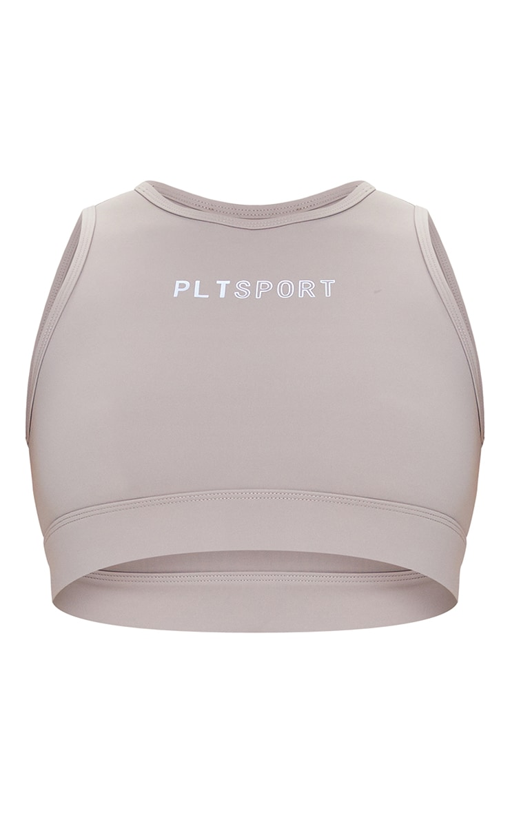 PRETTYLITTLETHING Taupe Sculpt Luxe Cropped Gym Top 5