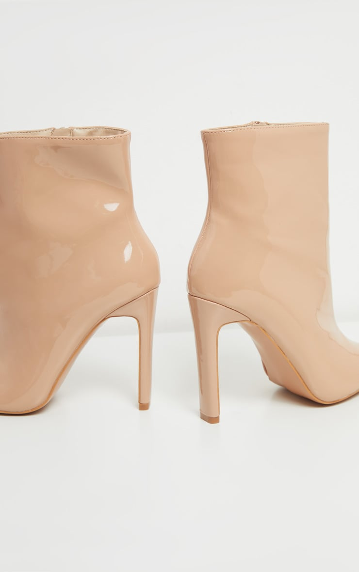 Nude Patent Wide Fit Flat Heel Point Ankle Boot 4