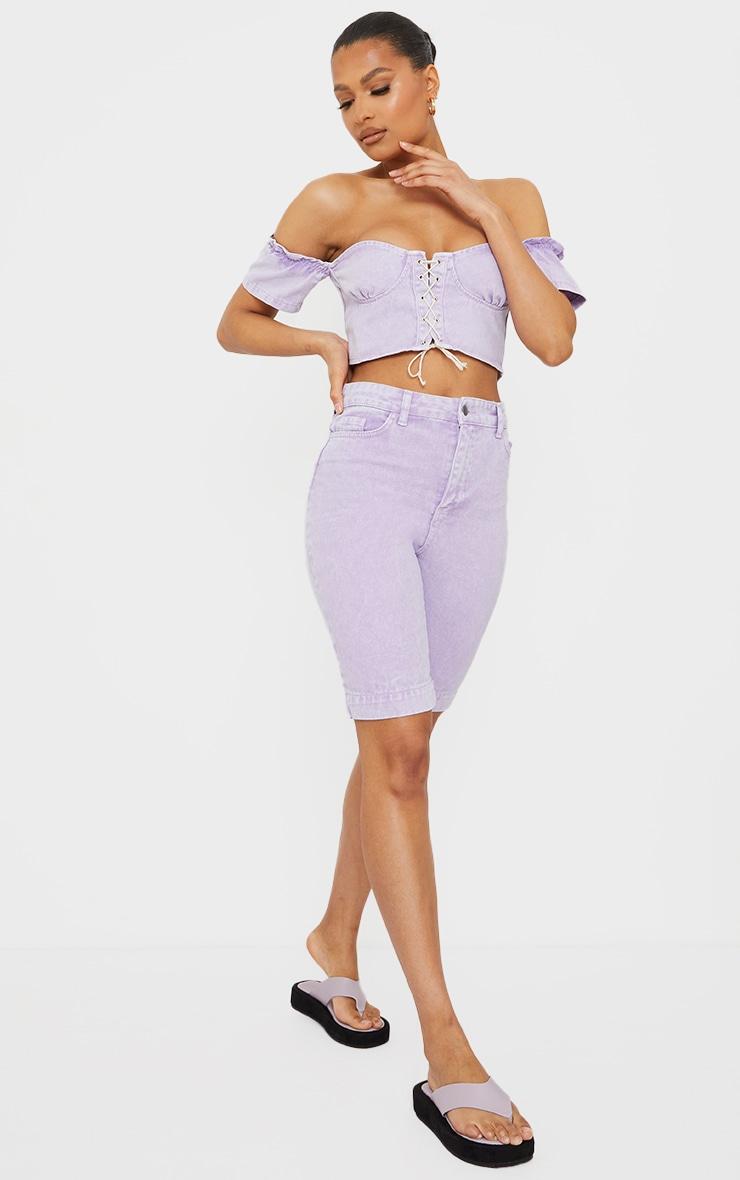 Lilac Bardot Lace Up Front Denim Crop Top 3