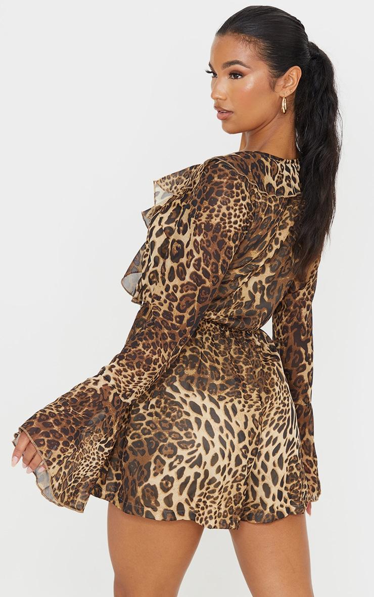 Tan Leopard Print Chiffon Frill Sleeve Romper 2