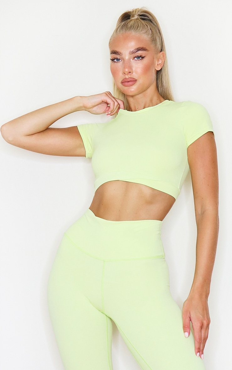 PRETTYLITTLETHING Lime Sculpt Luxe Racer Neck Sports Top 1