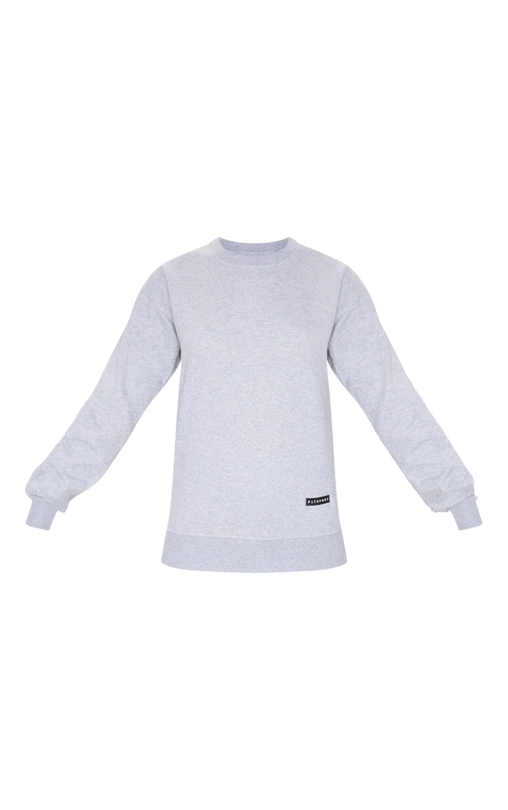 PRETTYLITTLETHING Grey Badge Detail Sport Sweater 6
