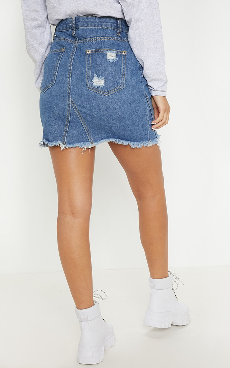 Mid Wash Button Through Distressed Denim Skirt 4