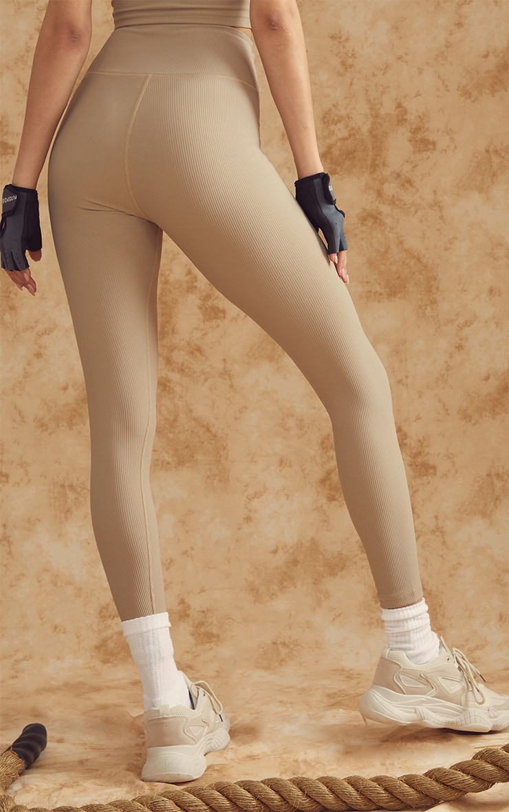 Olive Sculpt Ribbed Textured Gym Leggings 3