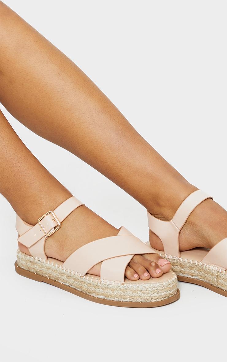 Nude Studded Flatform Espadrille Cross Strap Sandals 1