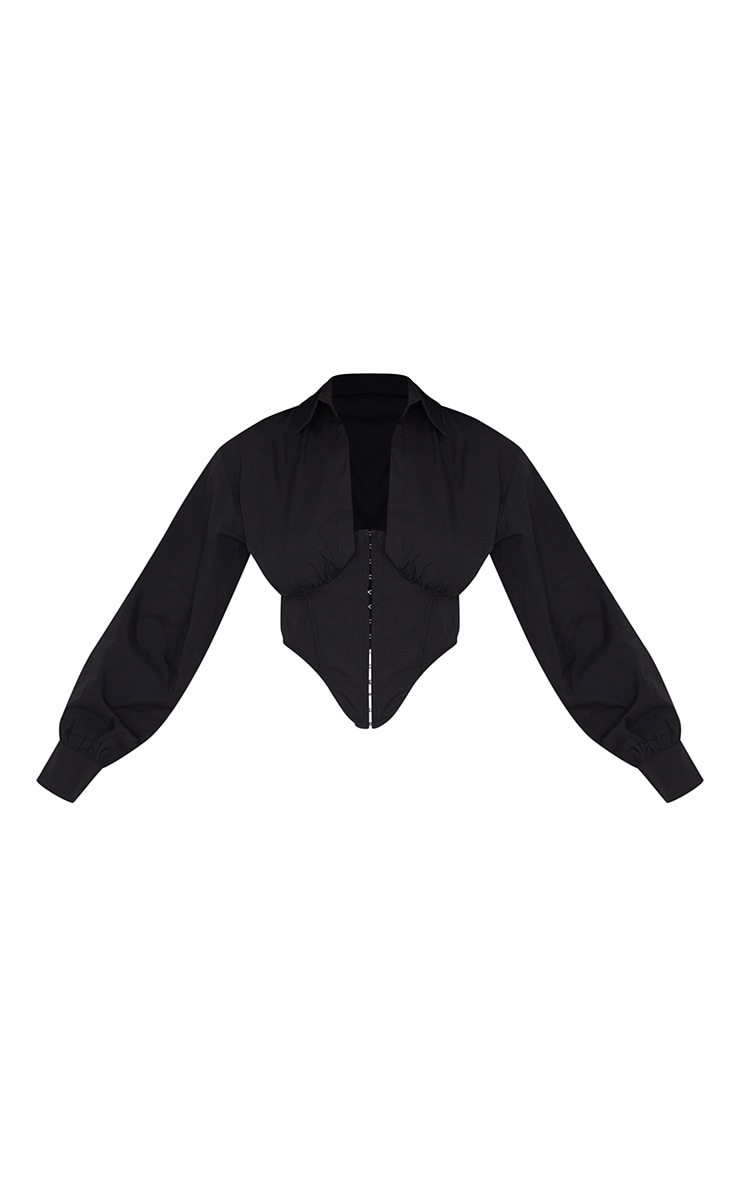 Black Collar Long Sleeve Corset 5