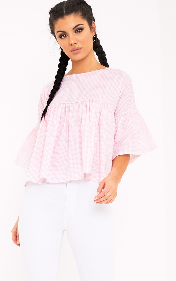 Alexiah Pink Gingham Frill Sleeve Blouse 1