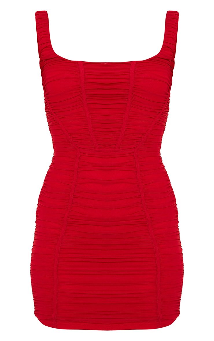 Red Square Neck Mesh Ruched Binding Detail Bodycon Dress 5