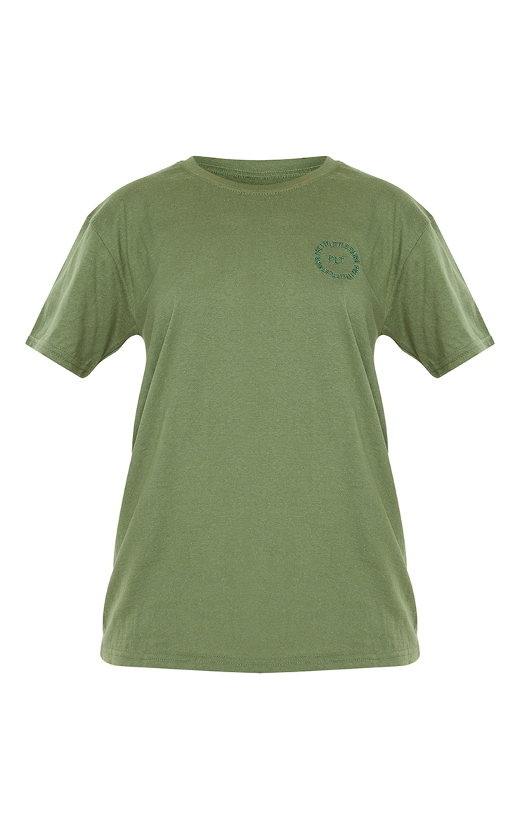 PRETTYLITTLETHING Khaki Circle Embroidered T Shirt 5