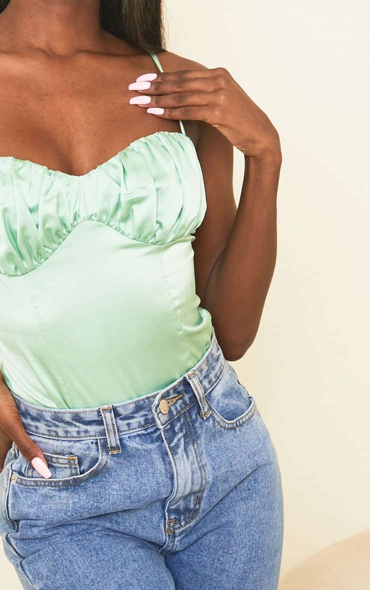 Tall Sage Green Satin Ruched Bust Bodysuit 4
