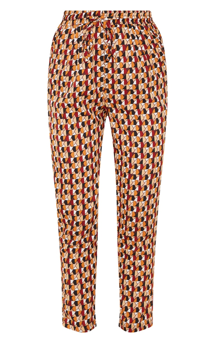 Rust Geo Print Cigarette Pants 3