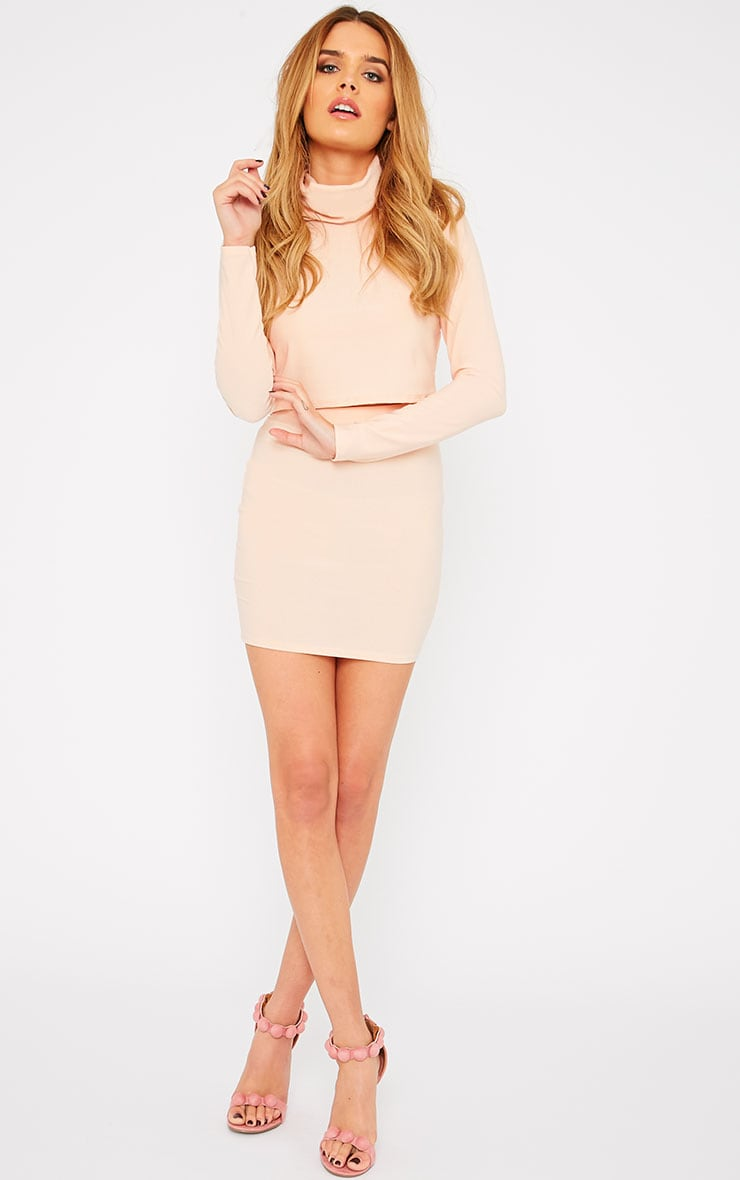 Emilia Nude Crepe Mini Skirt 1