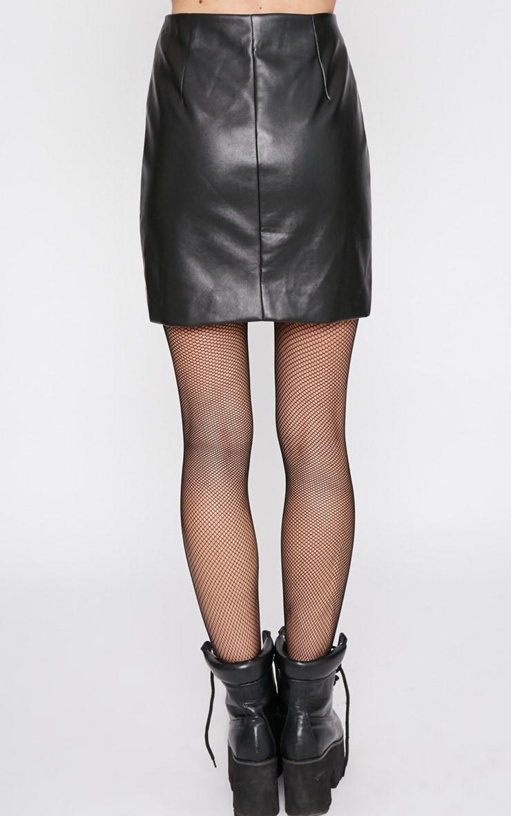 Wanda Black Zip Front Leather Mini Skirt 3